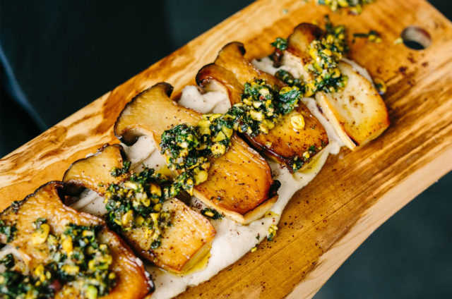 Forklift Catering King Oyster Mushrooms with Pistachio Salsa Verde Kelly Benvenuto Photography