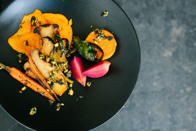 forklift-catering-boston-event-Roasted-Vegetables-with-Smoked-Carrot-Brown-Butter-Puree-Kelly-Benvenuto-Photography
